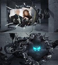 电影级怪物机械手臂相册展示模板