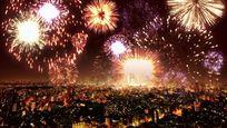 烟火烟花城市夜景节日背景视频