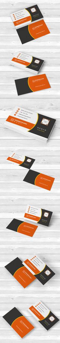 橙色二维码商务服务名片