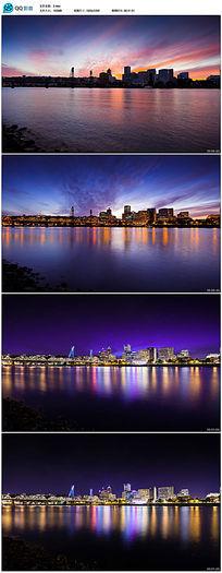 城市日落夜晚延时实拍视频素材