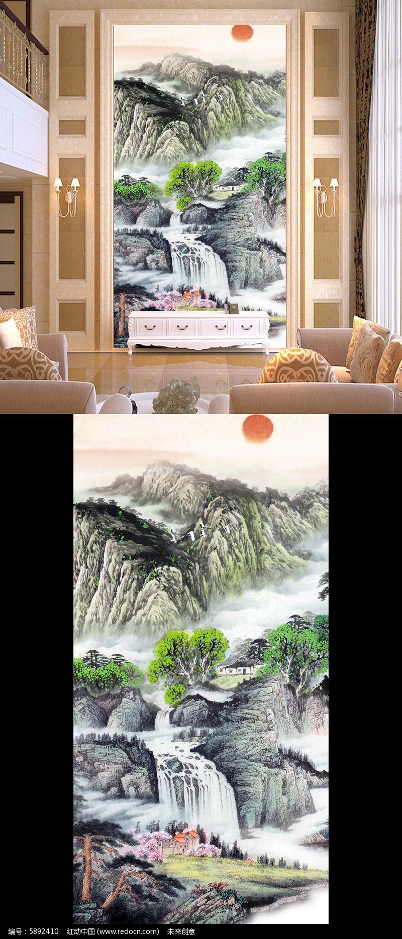 山水国画风景画玄关壁画