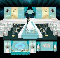 蓝色婚礼背景设计