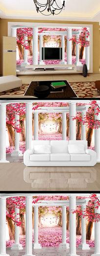 现代3d立体樱花树林电视背景墙