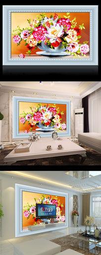 相框花朵花瓶油画电视背景墙
