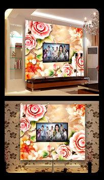 玉雕秋菊牡丹花家和富贵电视背景墙