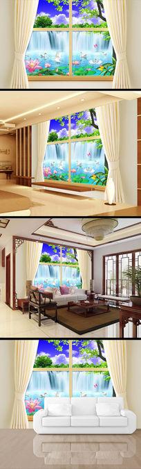 中国风瀑布风景画3d电视背景墙