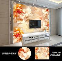 最新室内装潢3D花朵电视背景墙图片设计