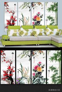 梅兰竹菊中国风中式无框画背景