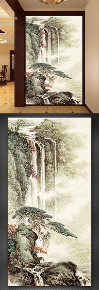 山水瀑布玄关流水生财财源滚滚玄关背景墙