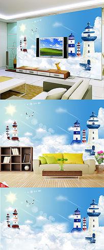云中灯塔客厅沙发3D电视背景墙