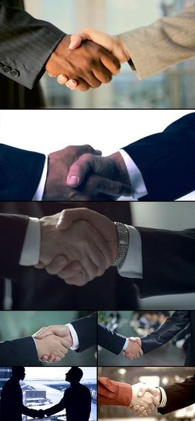几个不同场合商务人士握手