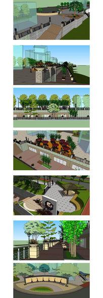 酒吧街建筑景观草图大师SU模型