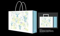 树木花菜手绘手提袋