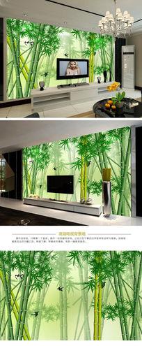 梦幻竹子现代简约电视背景墙