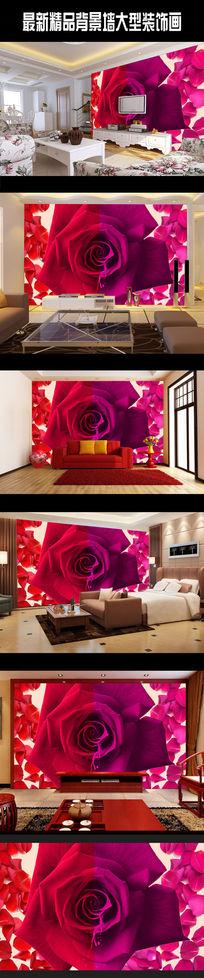 创意时尚玫瑰壁画背景墙