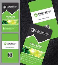 绿色环保二维码名片模板
