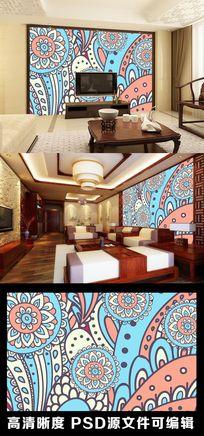 民族风花纹花卉剪纸图案电视背景墙