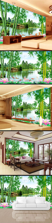 中国风风景画仙境竹林风电视背景墙