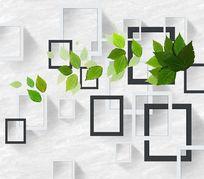 3D立体三维效果树叶方框壁画背景墙