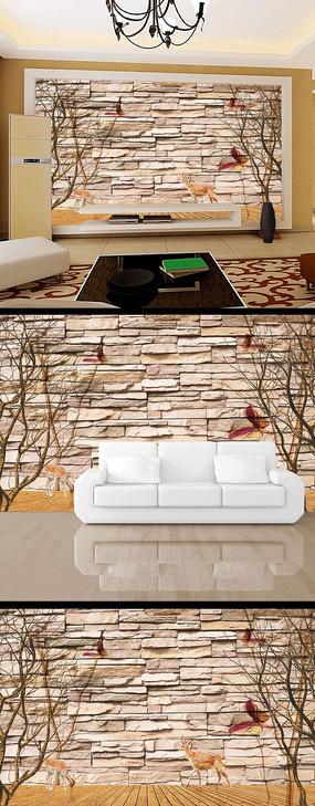 3d立体石墙树枝淡雅电视背景墙