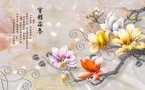 3d牡丹花开富贵电视背景墙装饰画