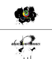 ae水墨晕染扩散logo标志展示ae模板