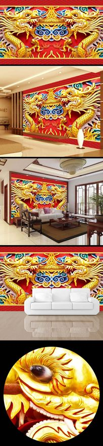 彩雕彩绘中国龙浮雕电视背景墙