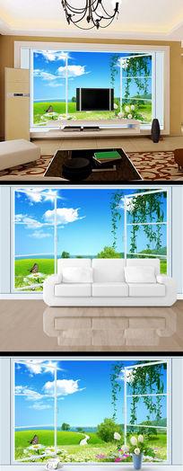窗户春天清雅3d立体电视背景墙