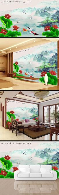 荷花荷叶水墨画中国风电视背景墙