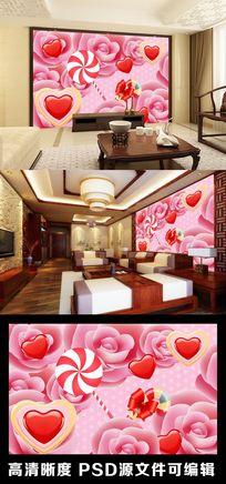 玫瑰花甜蜜棒棒糖爱心爱情粉色卡通电视背景墙