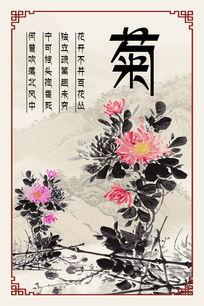 梅兰竹菊四君子之菊花海报
