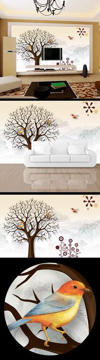 树木清雅淡雅典雅电视背景墙