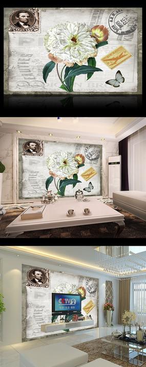 西式花朵花儿复古电视背景墙
