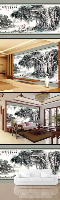 中国风水墨画树木电视背景墙