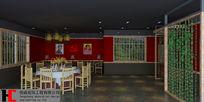 中式休闲餐厅3D模型
