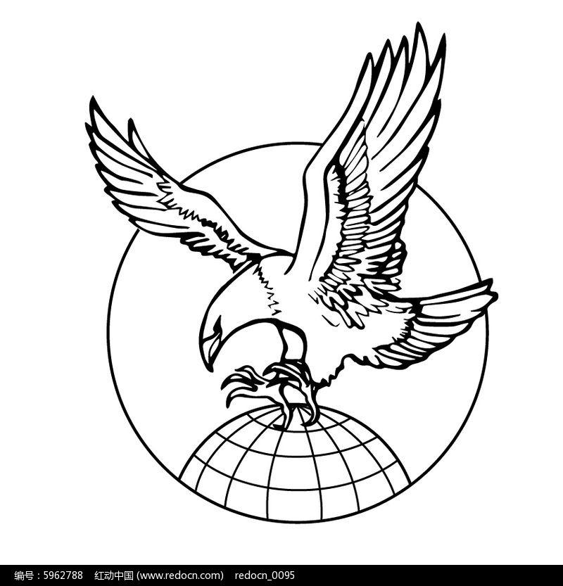 大气创意手绘老鹰