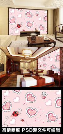 粉色爱心爱情云朵七星瓢虫电视背景墙