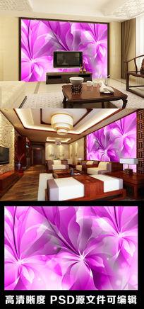 简约梦幻紫色花朵花纹电视背景墙