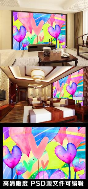 卡通手绘梦幻爱心爱情炫彩色彩电视背景墙