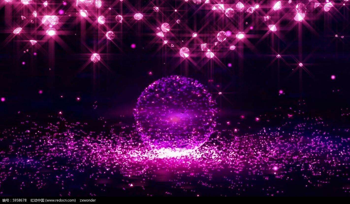 视频_唯美浪漫钻石粒子舞台背景视频