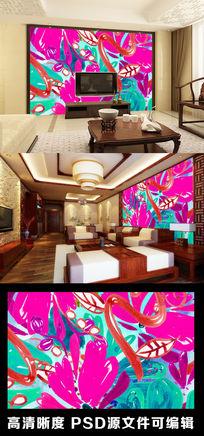 五彩斑斓色彩色块艺术抽象电视背景墙
