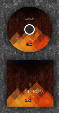 复古格子纹路橘色企业光盘设计 PSD