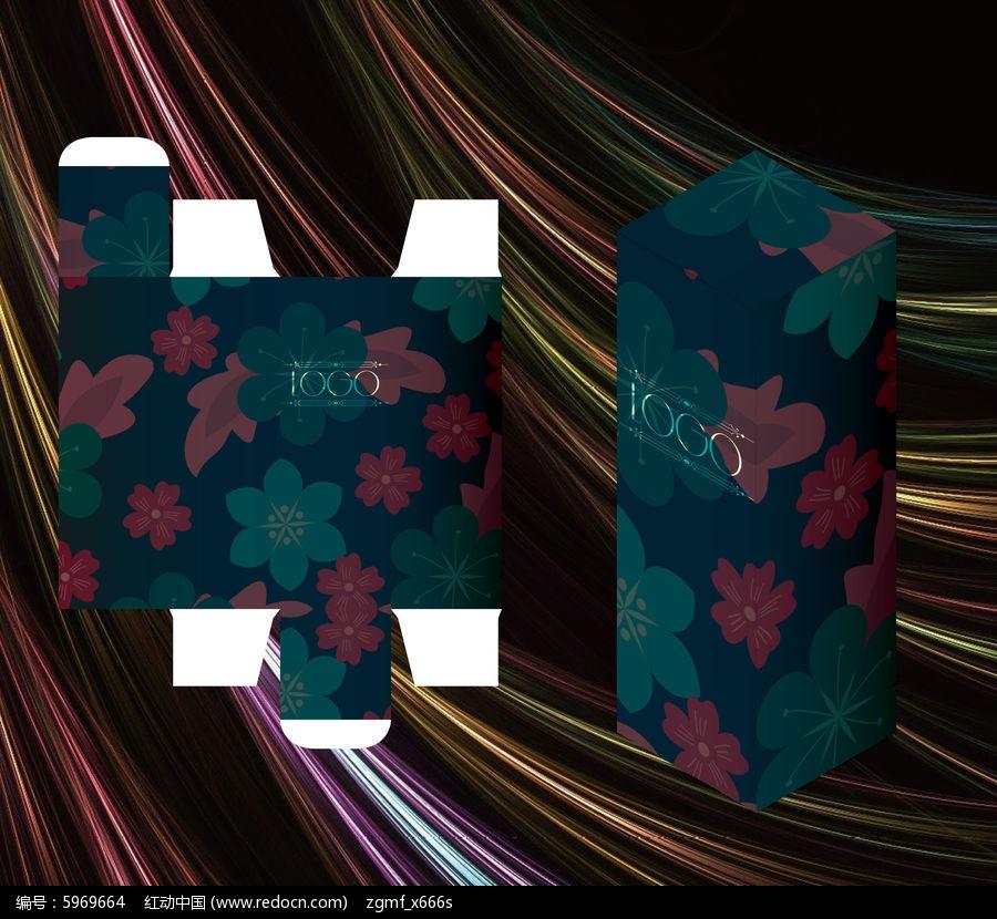 和风花卉设计包装盒模板