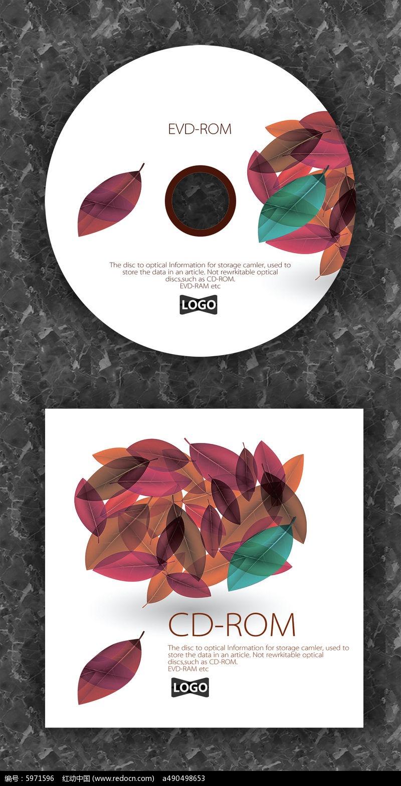 红色树叶白底cd封面设计