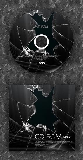 破碎玻璃个性时尚音乐光盘 PSD
