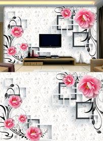 3D欧式复古花藤电视背景墙