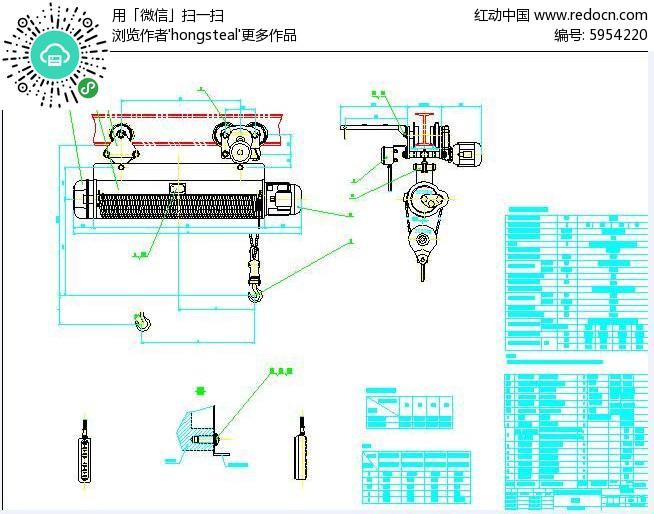 3Tv图纸图纸总图dwg素材下载_机械CAD葫芦设图纸江济淮工程施工引图片