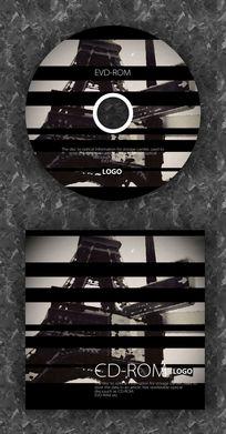 黑色条纹复古CD光盘设计