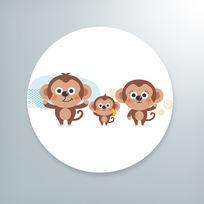 可爱呆萌卡通小猴插画