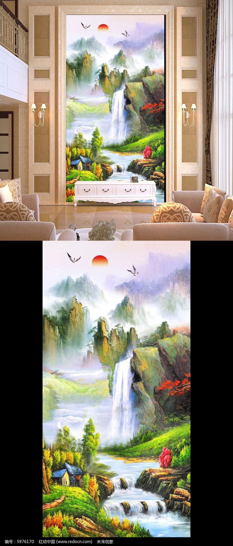 山水国画风景画油画高山流水风景图玄关